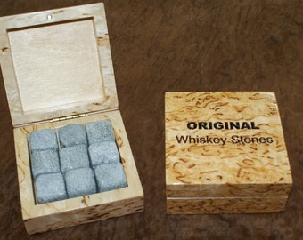 Whiskey stones in case from masur birch
