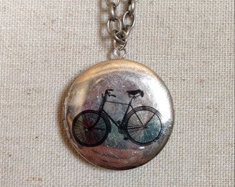 """Bicycle locket necklace - bicycle jewelry - cyclist necklace - 24"""" or 30"""" chain **FREE SHIPPING**"""