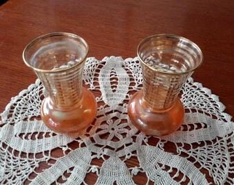 Vintage Pair Peach Luster Vases
