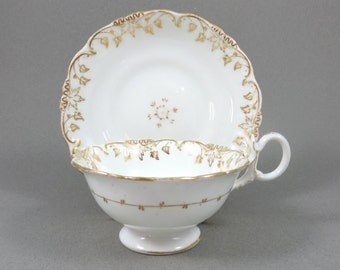 Antique English Teacup and Saucer, 1800's Bone China, Hand Painted Gold Gilt on White, Ornate Style