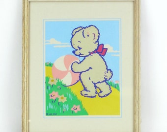 SALE Vintage 1940's Magic Picture - Glow in the Dark Childrens nusery art, Teddy Bear with Ball