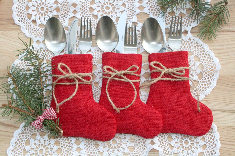 Knitting Pattern For Christmas Stocking Cutlery Holder : Christmas Silverware HolderChristmas Table Decor Burlap