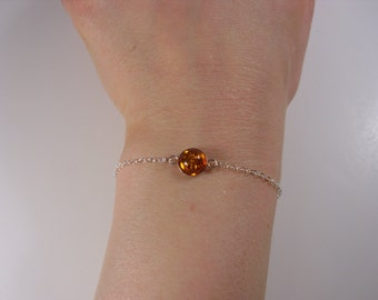 Amber bracelet in sterling silver; natural gemstone bracelet, simple amber bracelet; amber bracelet silver