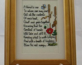 Framed Cross Stitch Friendship Poem