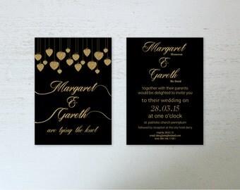 Wedding Invitations Digital Download Wedding Invite A6 Wedding Stationary Romantic Gold Tying the Knot Wedding Invitations Digital File