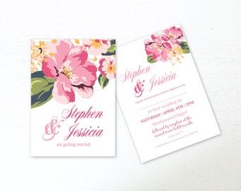 Wedding Invitations Digital Download Wedding Invite A6 Wedding Stationary Wedding Invitation Pink Watercolour Floral Wedding Invitations
