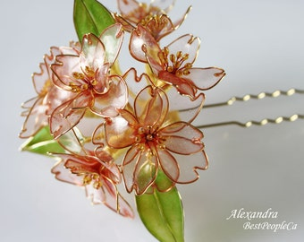 Flower Hair Pin Cherry Blossom Transparent Wedding Accessories Japanese Kanzashi OOAK Pink flowers Green leaves