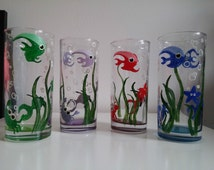 Cute hand painted Under the Sea highball glasses red, blue, green, purple present kids set fish bubbles tumblers