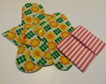 Flannel Set of Regular Pad and Pantiliners with Pad Wrapper