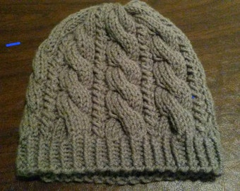 Knitted Bean hat with cable pattern