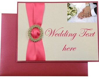 100 personalised designer wedding invitations with buckle and ribbon