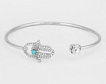 Silver Asymmetrical Hamsa Cuff Bracelet