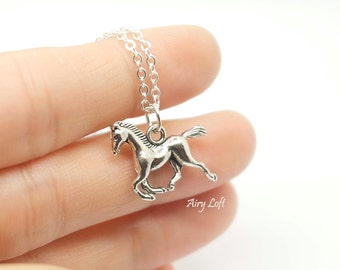 Horse Charm Necklace- Personalized Horse necklace, Silver horse charm, Gift for girls, horse lover, Birthday gift,