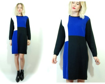 Vintage Dress // Mondrian Sweater Dress // Vintage 80s Avant Garde Dress