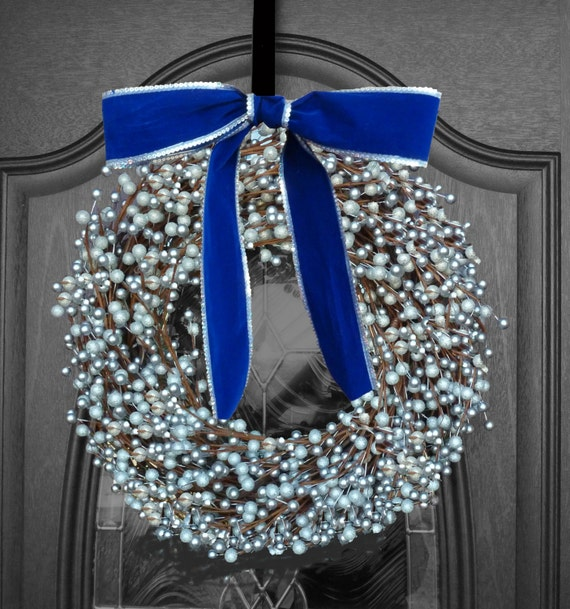 CYBER MONDAY SALE Wreath - Silver Elegant - Holiday Hanukkah Blue Christmas Chanukah Home Decor Outdoor Outside Door Decorations