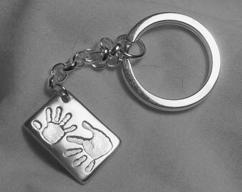 HANDPRINT & FOOTPRINT KEYRING Personalized Silver Handprint Footprint Keyring Keychain Key Ring Key Chain