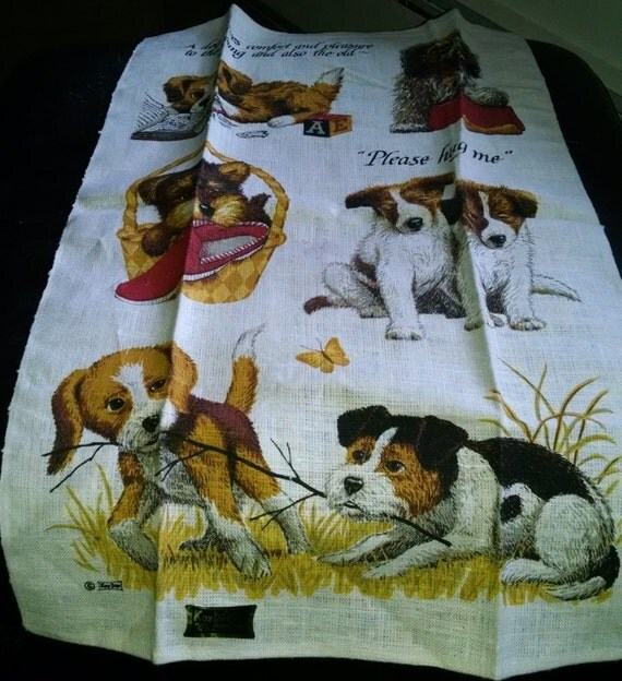 Vintage Linen Print Tea Towel Kitchen Kay Dee Dog Puppies NWT