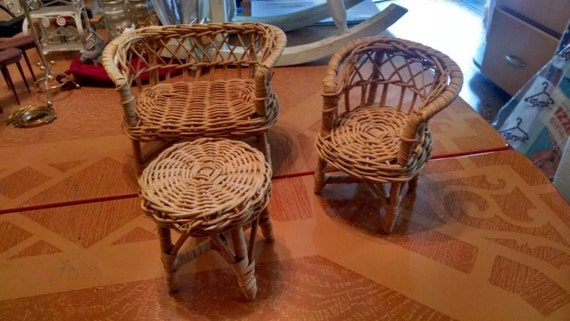 """Vintage Miniature Wicker Set Sofa, Chair and Table  5"""""""