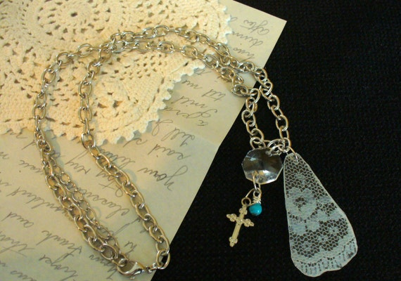 Vintage Lace Pendant Necklace, Vintage Chandelier Crystal Necklace, Cross Charm Necklace,Turquoise Bead Necklace, One of a Kind Necklace