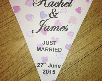 Personalised Wedding Bunting Flags Banner Decoration Mr & Mrs PBU104
