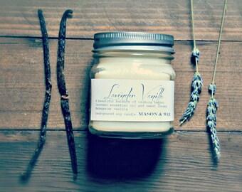 Lavender Vanilla Mason Jar Soy Candle
