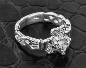 Claddagh Ring Sterling Silver Trinity Weave Band w/ Clear Diamond CZ. April Birthstone . Trinity Claddagh Ring. 925 Sterling Silver Ring.