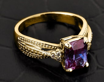 Alexandrite ring, gold Alexandrite ring, Alexandrite and diamond engagement ring, yellow gold Alexandrite ring, June birthstone ring