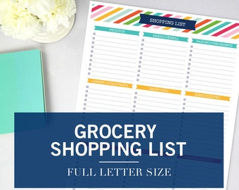 Grocery Shopping Printable – Organizational Binder Print – INSTANT DOWNLOAD