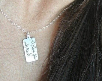 "Handwritten Sterling Silver Pendant (0.7 "" x 0.4"") Christmas Gift, Wedding, Mother's day,"