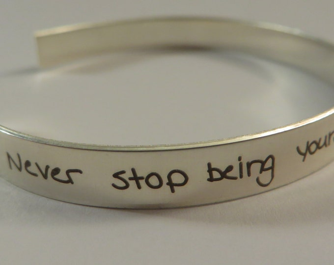 "Handwritten Sterling Silver Bracelet .25"" X 6""Your Handwriting Personalized Custom Unique Great Christmas gift"