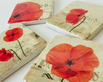 Poppy Flower Coasters - Natural Stone - Home Decor - Housewarming Gift - Garden - Perfect Hostess Gift - Set of 4