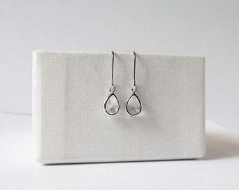 tiny silver teardrop earrings, drop dangle earrings, tiny teardrop earrings gift for teens bridesmaids gift