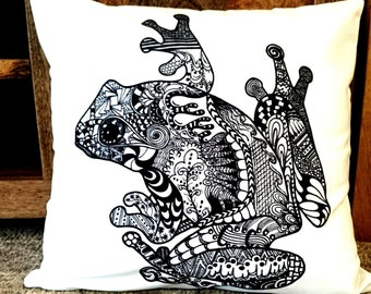 Cushion cover. Hand drawn design of a tree frog. Zentangle art. Perfect for modern spacec, children's rooms or a nursery. 45x45cm 18x18in