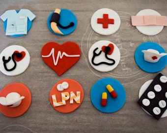 Nurse cupcake toppers/doctor cupcake toppers/ medical graduate toppers/