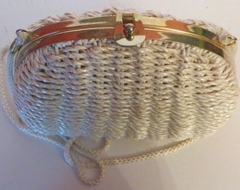 Vtg Wicker Handbag with Gold Tone Trim