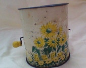 Metal Flour Sifter with Yellow Wood Knob on Crank Handle