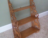 Sale..Beautifully Detailed Carved Three Tier Wood Shelf..Inventory Reduction Sale 30% Off Code SALE30