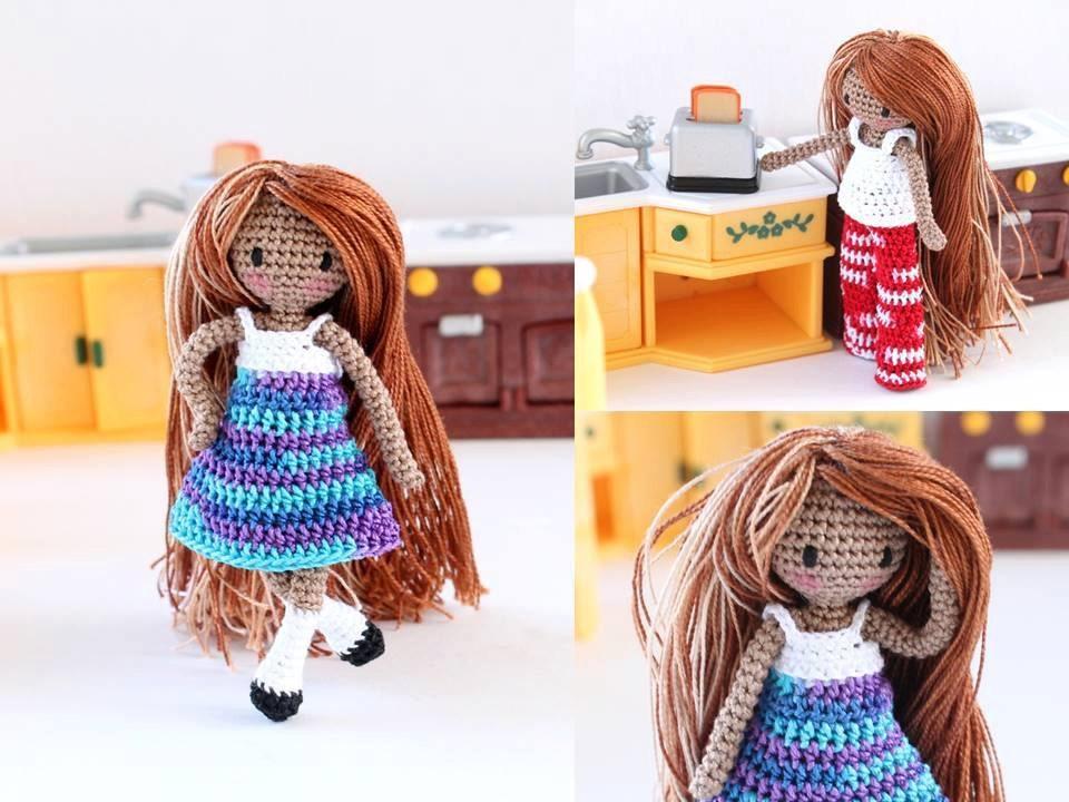 Tiny Amigurumi Doll : Tiny amigurumi girl crochet doll waldorf inspired travel
