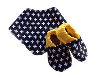 Monochrome Swiss Cross Baby Shoes and Bandanna Gift Set