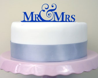 Mr & Mrs - Simple Wedding Cake Topper - Choose Any Colour