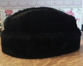 Vintage 1970's Men's Black Faux Fur Hat with Ear Flaps