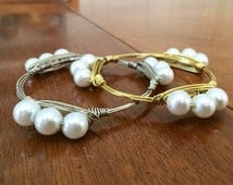 Sale! The Beaufort, Elegant Pearl Gold or Silver Wire Wrapped Bangle Bauble Stackable Bracelet 4 STYLES!