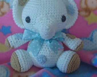 With Blue Ribbon amigurumi elephant