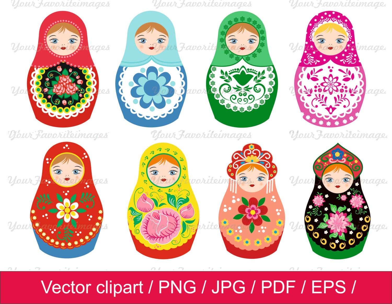 80 off nesting dolls clip art matryoshkas clip art