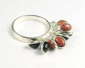 Sunstone , Black Onyx Silver Ethnic Huge Boho Gemstone Ring Jewelry Fashion Love Gift