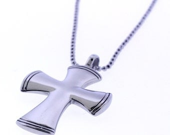 Men's Stainless Steel Cross Pendant with bead chain -  On Sale! half the original price