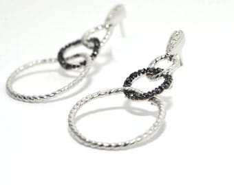 Silver with Black and White Diamond Earrings