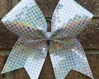 Cheer Bow white with holographic sparkle bling