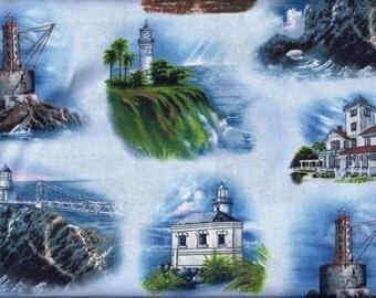West Coast Lighthouses Blue Curtain Valance