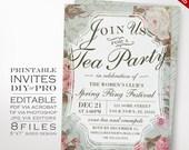 Tea Party Event Invitation Template - Vintage Rose Tea Party Theme Affair Invitation Printable DIY Country Invitation Editable Event Invite